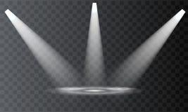 Vektorstrålkastare plats Ljusa effekter för stråle royaltyfri illustrationer
