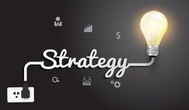 Vektorstrategibegrepp med idérik ljus kula I vektor illustrationer