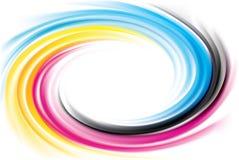 Vektorstrudelhintergrund des Primärfarbdruckverfahrens: CMYK Stockbilder