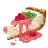 Vektorstycke av ostkakakakan med luftig och mjuk delikat kr?mig-ostmassa ost Chips och smulpajkaka med tillbaka vektor illustrationer