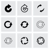 Vektorsvart förnyar symbolsuppsättningen Royaltyfria Bilder