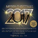 Vektorsvart och guld- hälsningkort 2017 för glad jul Arkivbilder