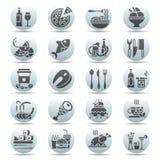 Vektorsvart på den vita cirkelknappuppsättningen av plana symboler och beståndsdelar om mat och drinken för meny för kokkonstreng Royaltyfri Fotografi