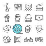 Vektorsvartlinje biosymbolsuppsättning Inkluderar sådana symboler som utmärkelsen, Hall, biljetten, popcorn stock illustrationer