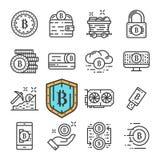 Vektorsvartlinje Bitcoin symbolsuppsättning Inkluderar sådana symboler som Cryptocurrency och att bryta, online-pengar, mynt royaltyfri illustrationer