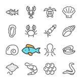 Vektorsvartlinje havs- symbolsuppsättning Inkluderar sådana symboler som räka, fisken, krabban, kaviar stock illustrationer