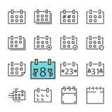 Vektorsvartlinje kalendersymbolsuppsättning Inkluderar sådana symboler som kalendern som kasseras Godkänt ferie vektor illustrationer