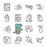Vektorsvartlinje lokalvårdsymbolsuppsättning Inkluderar sådana symboler som fullständigt yttersida, damm, skum, tvättmedel stock illustrationer