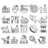 Vektorsvartlinje uppsättning av plana symboler och beståndsdelar om mat och drinken Royaltyfria Bilder