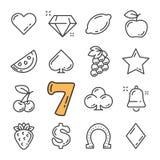 Vektorsvartlinjen enarmad bandit och kasinosymboler ställde in Inkluderar sådana symboler som diamanten, frukter, dollar royaltyfri illustrationer