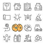 Vektorsvartlinjen symboler för konditionidrottshallutrustning ställde in Inkluderar sådana symboler som utrustningkondition, krop vektor illustrationer