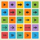 Vektorsvartuppsättning av olika vektorpilar vektor illustrationer