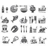 Vektorsvartuppsättning av plana symboler och beståndsdelar om mat och drinken för meny för kokkonstrengöringsdukrestaurang Royaltyfri Fotografi
