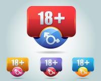 Vektorsymbol av 18 plus den mångfärgade knappen Royaltyfria Foton