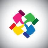 Vektorsymbol av färgrika för tummar händer upp - begrepp av gruppenhet Royaltyfri Fotografi