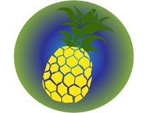 Vektorsymbol av gul ananas med gräsplan och med bakgrund i skuggor av den tropiska illustrationen för grön typ av strandsemestern royaltyfri fotografi