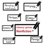 Vektorsymbol av litterära genrer facklitteratur, bok Arkivfoton