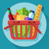 Vektorsymbol av livsmedelsbutikvagnen Royaltyfri Bild