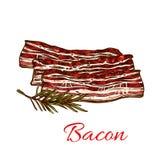 Vektorsymbol av nytt baconkött för slakt stock illustrationer