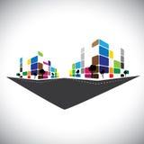 Vektorsymbol - byggnad av den hem- lägenheten eller toppen marknad eller offi vektor illustrationer