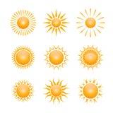 Vektorsymbol der Sonne Stockfotos