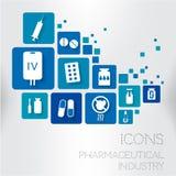 Vektorsymbol för läkarundersökning och läkemedel Arkivfoton