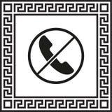 Vektorsymbol ingen telefon i en ram med en grekisk prydnad vektor illustrationer