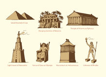 Vektorsymbole der sieben Wunder der Antike stock abbildung
