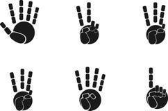 Vektorsymbolen ställde in av svarta händer poserar konturn royaltyfri illustrationer