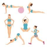 Vektorsymboler av folk som övar på idrottshallen och konditionen stock illustrationer