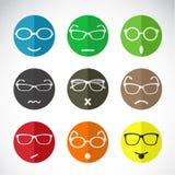 Vektorsymboler av framsidor med glasögon Arkivfoto