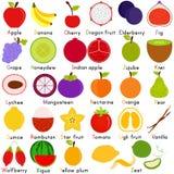 Vektorsymboler av frukt med alfabet A till Z Royaltyfri Fotografi