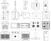 Vektorsymboler av kökanordningar royaltyfri illustrationer
