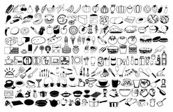 Vektorsymboler av mat Arkivfoton