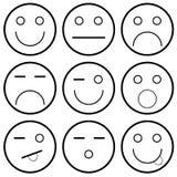 Vektorsymboler av smileyframsidor Arkivbilder