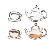 Vektorsymboler av tekannan och kopp te vektor illustrationer
