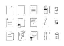 Vektorsymboler för kontor för datorpapper Arkivbilder