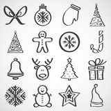 Vektorsymboler för nytt år och jul Fotografering för Bildbyråer