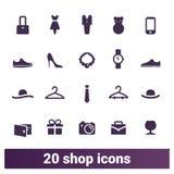 Vektorsymboler för shopping, för mode och för återförsäljnings- affär vektor illustrationer