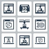 vektorsymboler för skrivare 3D Arkivbild