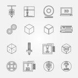 vektorsymboler för tryck 3D Royaltyfria Bilder
