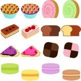 Vektorsymboler: Gullig söt Cake royaltyfri illustrationer
