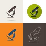 Vektorsymboler med ett mikroskop stock illustrationer