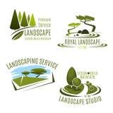 Vektorsymboler som arbeta i trädgården landskapdesignföretaget stock illustrationer