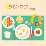 Vektorsymboler ställde in med frukostmat och drinkar in Arkivfoto