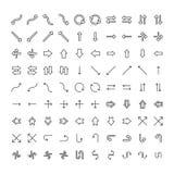 Vektorsymboler ställde in olika pilar och pekare på vit bakgrund Royaltyfria Bilder