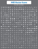 440 vektorsymboler (vituppsättningen) Royaltyfri Foto