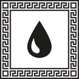 Vektorsymbolsdroppe i en ram med en grekisk prydnad stock illustrationer