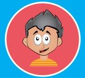 Vektorsymbolsillustration i plan design med blicken 3D Ung pojke stock illustrationer