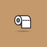 Vektorsymbolsrulle av toalettpapper med den släta kanten på brun bakgrund Royaltyfria Bilder